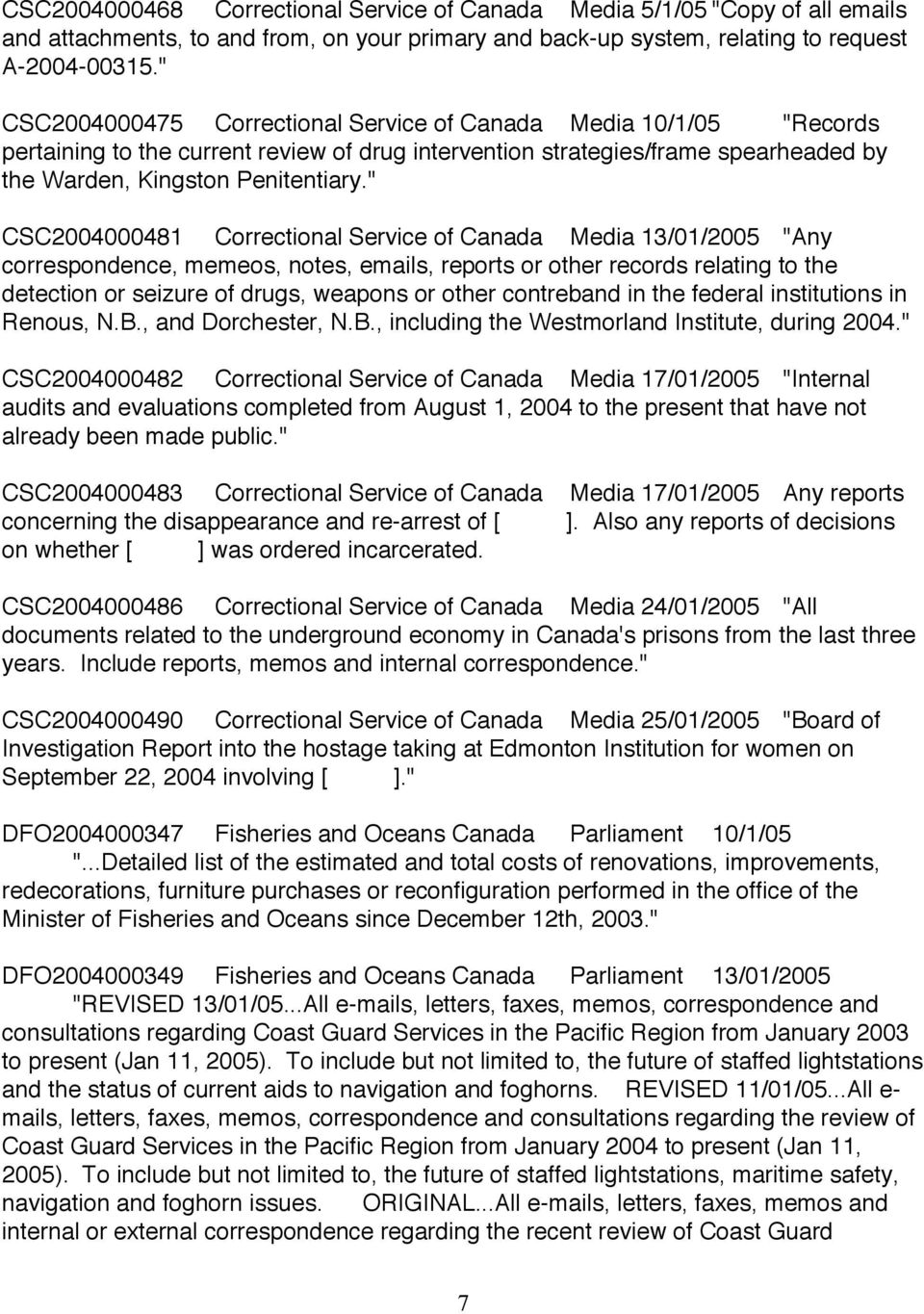 """ CSC2004000481 Correctional Service of Canada Media 13/01/2005 ""Any correspondence, memeos, notes, emails, reports or other records relating to the detection or seizure of drugs, weapons or other"