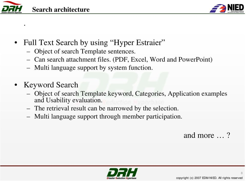 Keyword Search Object of search Template keyword, Categories, Application examples and Usability evaluation.