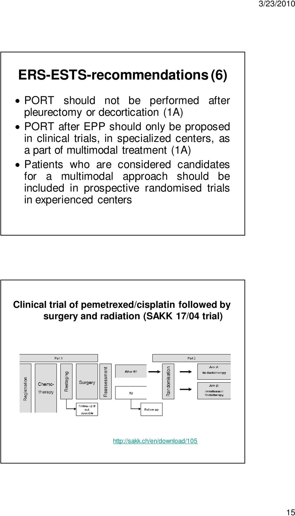 considered candidates for a multimodal approach should be included in prospective randomised trials in experienced