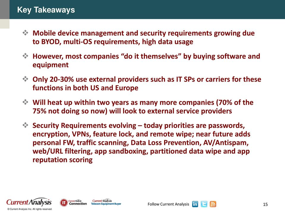 companies (70% of the 75% not doing so now) will look to external service providers Security Requirements evolving today priorities are passwords, encryption, VPNs, feature