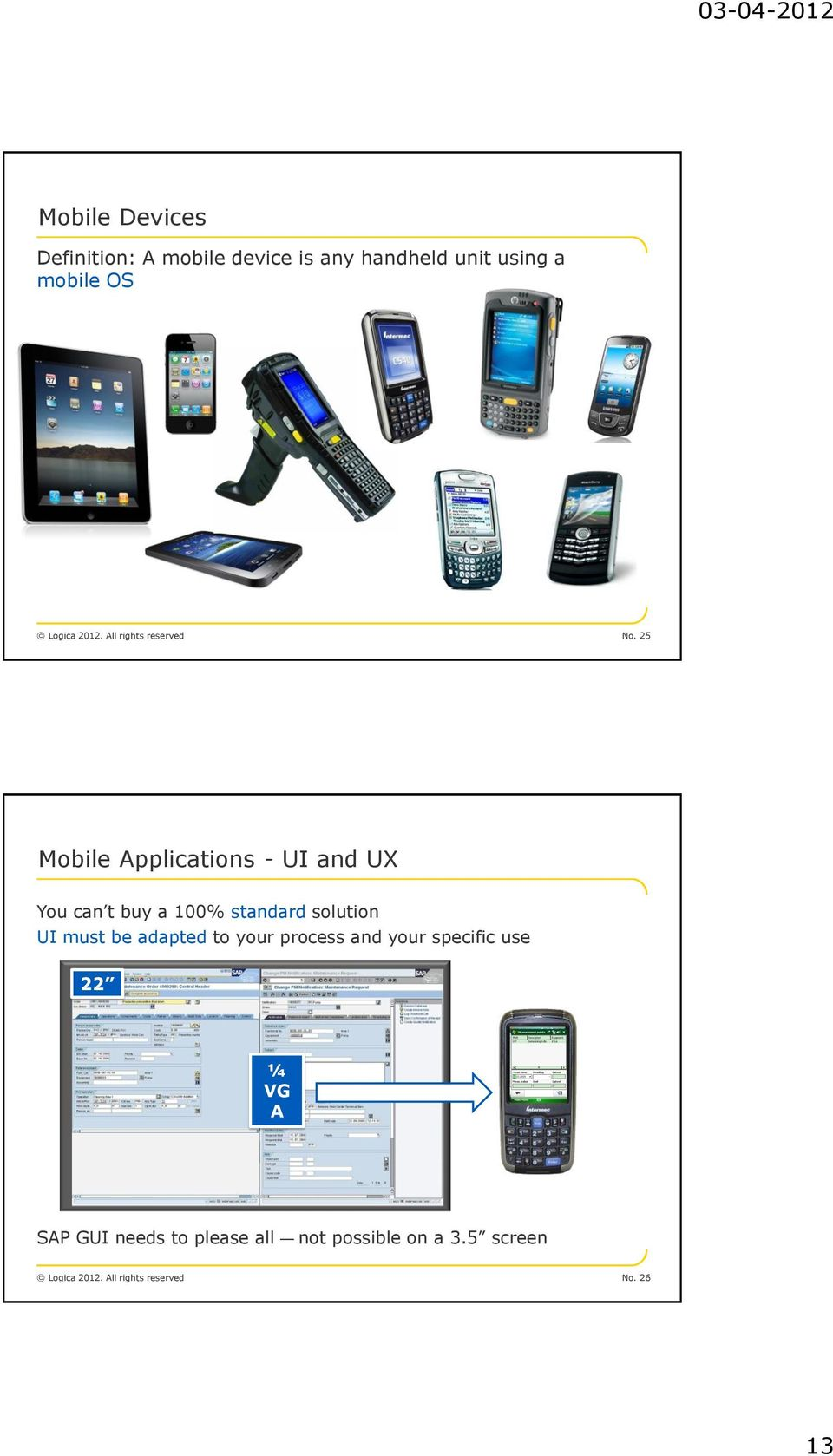 25 Mobile Applications - UI and UX You can t buy a 100% standard solution