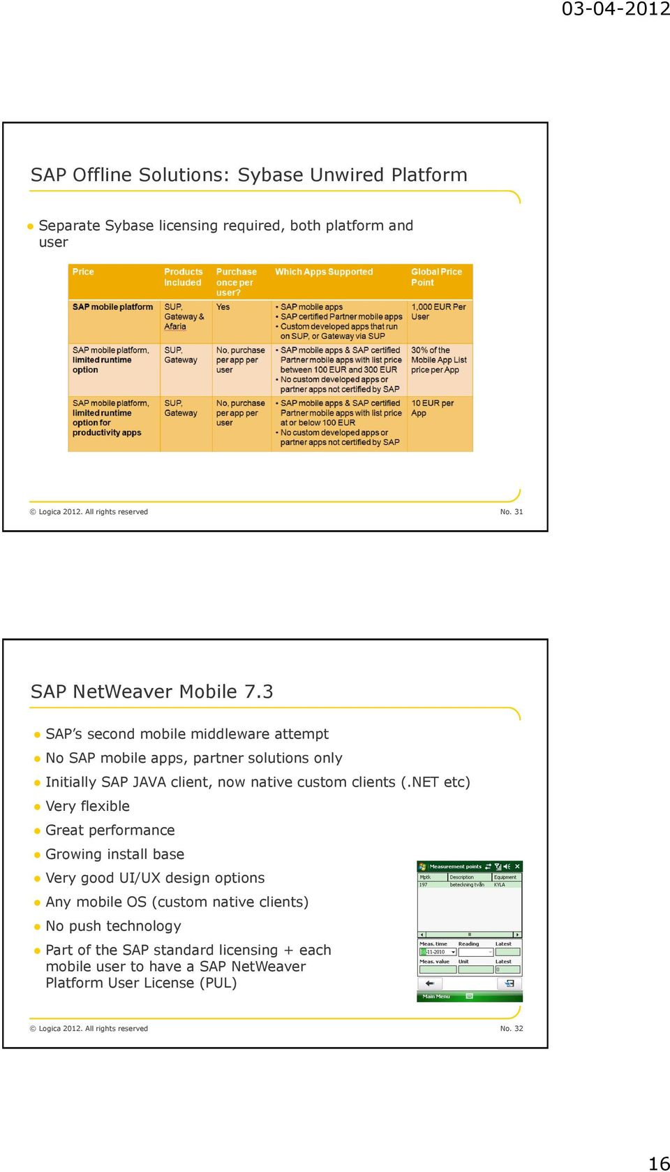 3 SAP s second mobile middleware attempt No SAP mobile apps, partner solutions only Initially SAP JAVA client, now native custom