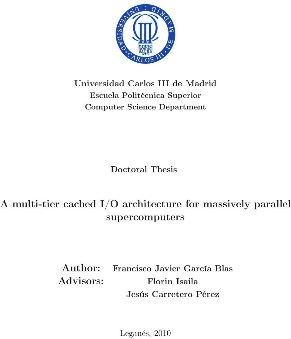 architecture for massively parallel supercomputers Author: Advisors: