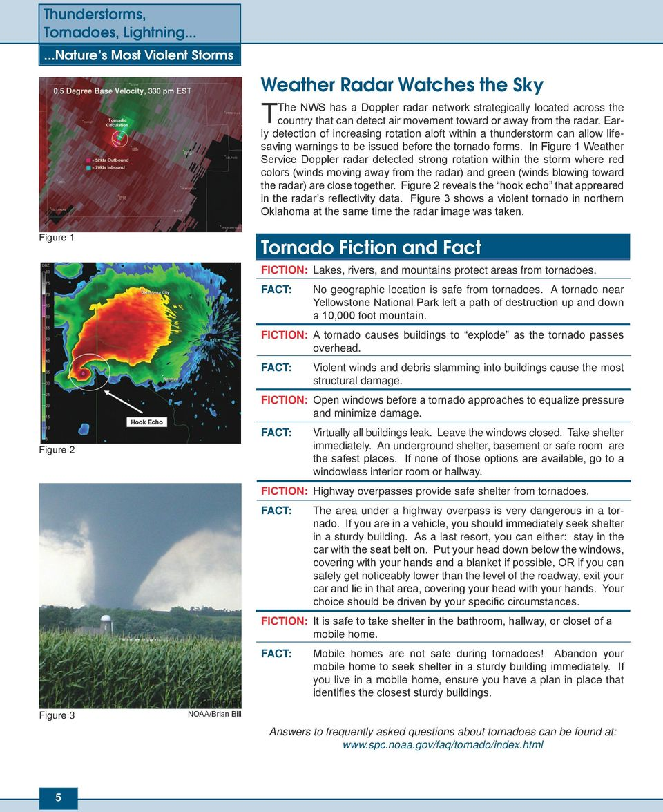 away from the radar. Early detection of increasing rotation aloft within a thunderstorm can allow lifesaving warnings to be issued before the tornado forms.