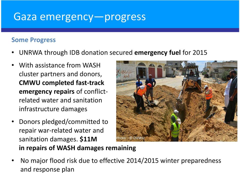 sanitation infrastructure damages Donors pledged/committed to repair war-related water and sanitation damages.