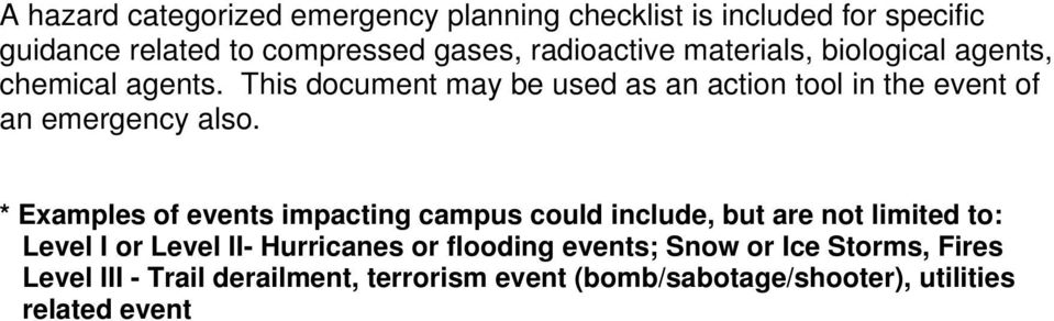 * Examples of events impacting campus could include, but are not limited to: Level I or Level II- Hurricanes or flooding