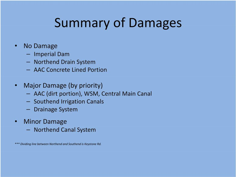 Central Main Canal Southend Irrigation Canals Drainage System Minor Damage