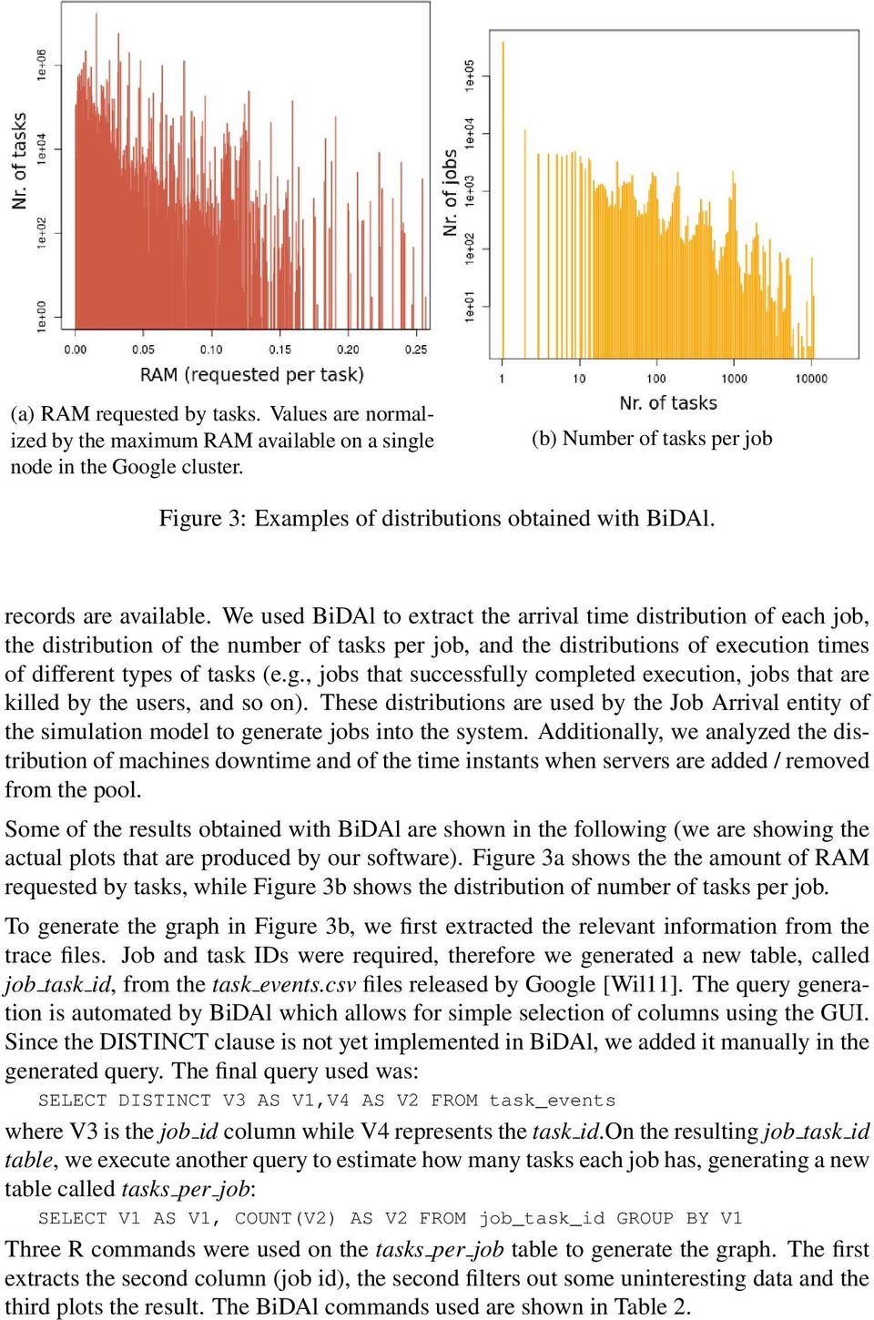 We used BiDAl to extract the arrival time distribution of each job, the distribution of the number of tasks per job, and the distributions of execution times of different types of tasks (e.g.