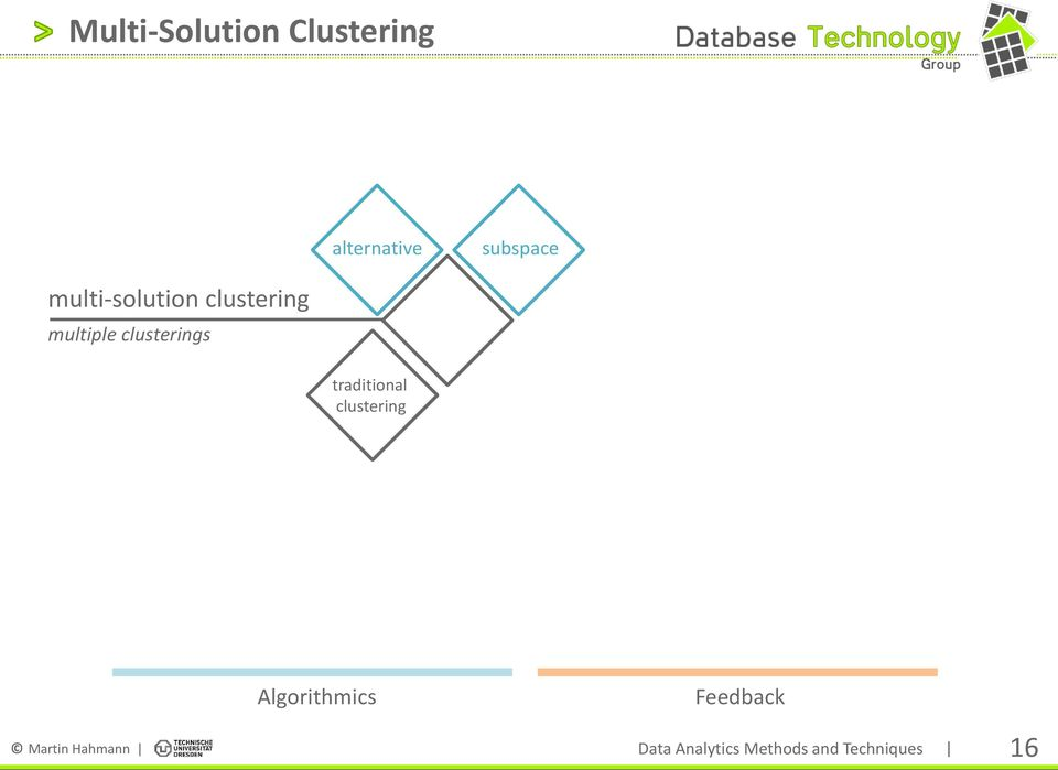traditional clustering Algorithmics Feedback