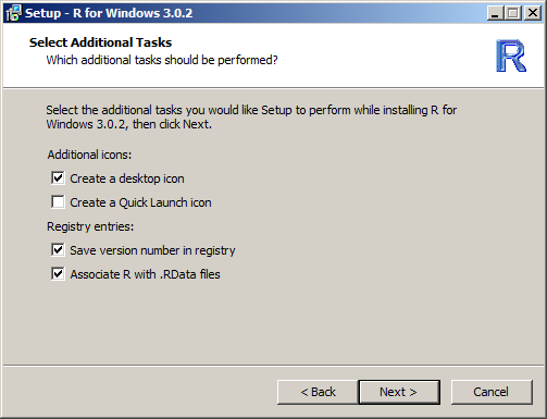 17. Click Next > 18. In the Select Start Menu Folder dialog, accept the default R name and click Next > 19.
