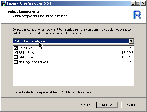 9. In the Select Components dialog, select the 32-bit User Installation option from the drop-down box. 10.