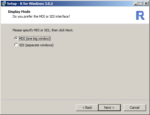 13. Click Next > 14. In the Display Mode dialog, accept the default MDI option and click Next > 15.