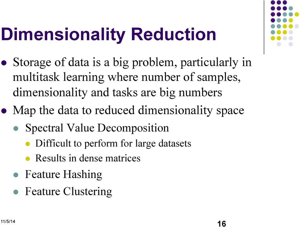 data to reduced dimensionality space Spectral Value Decomposition Difficult to