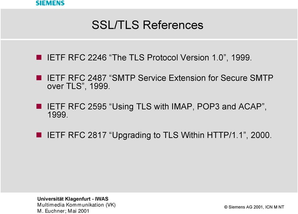 IETF RFC 2487 SMTP Service Extension for Secure SMTP over