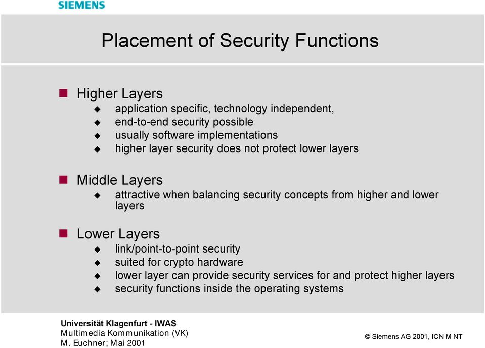 layers attractive when balancing security concepts from higher and lower layers link/point-to-point security suited for