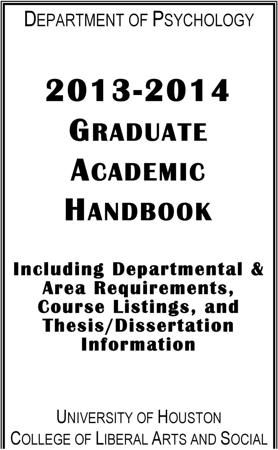 Course Listings, and Thesis/Dissertation Information