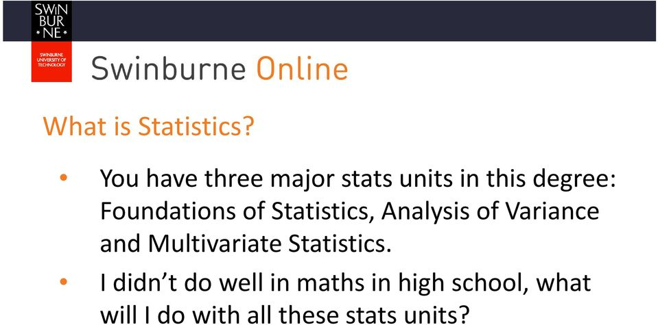 Foundations of Statistics, Analysis of Variance and