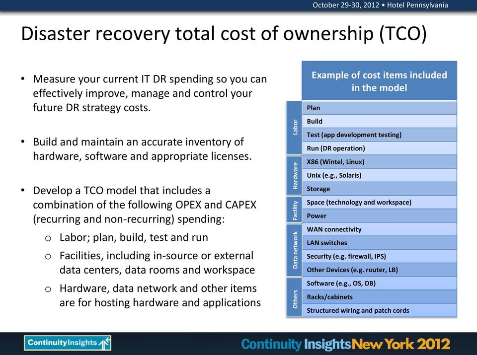 Develop a TCO model that includes a combination of the following OPEX and CAPEX (recurring and non-recurring) spending: o Labor; plan, build, test and run o Facilities, including in-source or