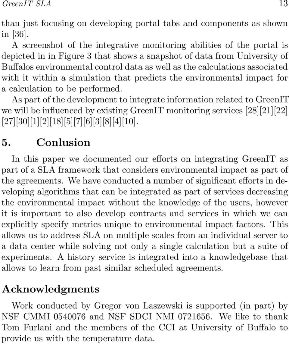 calculations associated with it within a simulation that predicts the environmental impact for a calculation to be performed.