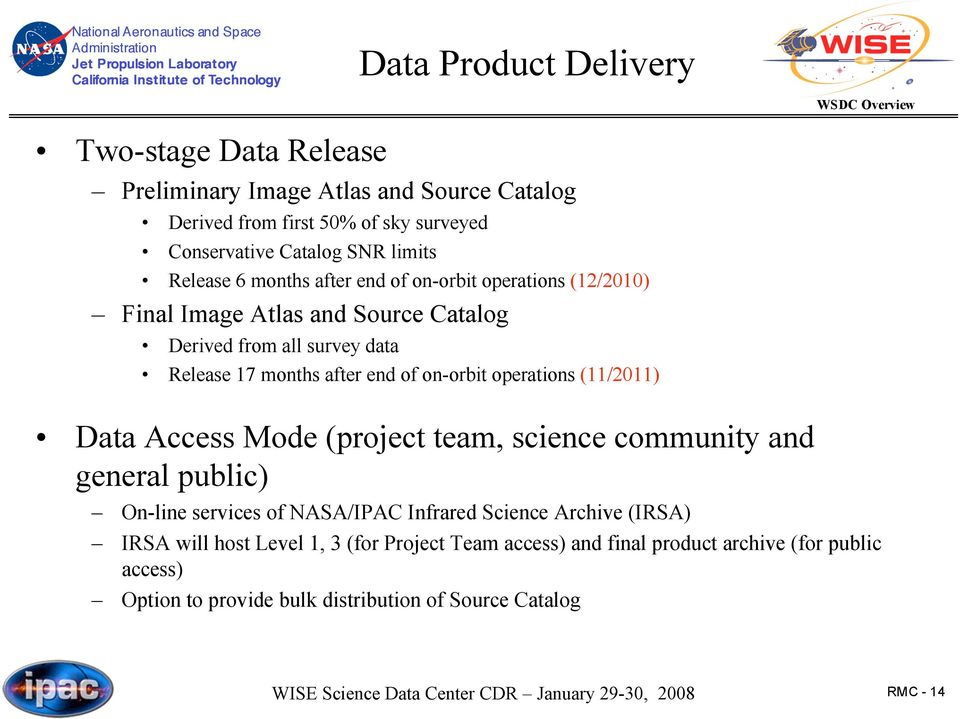 on-orbit operations (11/2011) Data Access Mode (project team, science community and general public) On-line services of NASA/IPAC Infrared Science Archive