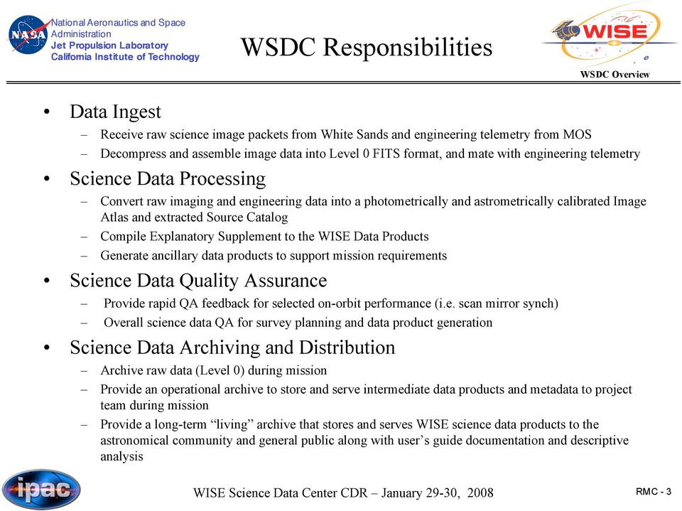 Explanatory Supplement to the WISE Data Products Generate ancillary data products to support mission requirements Science Data Quality Assurance Provide rapid QA feedback for selected on-orbit