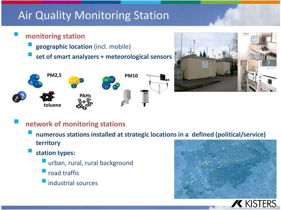 of monitoring stations numerous stations installed at strategic locations in a defined
