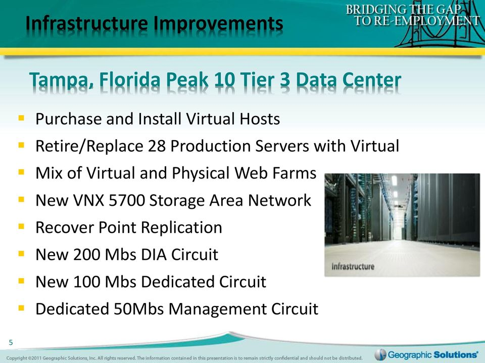 Virtual and Physical Web Farms New VNX 5700 Storage Area Network Recover Point