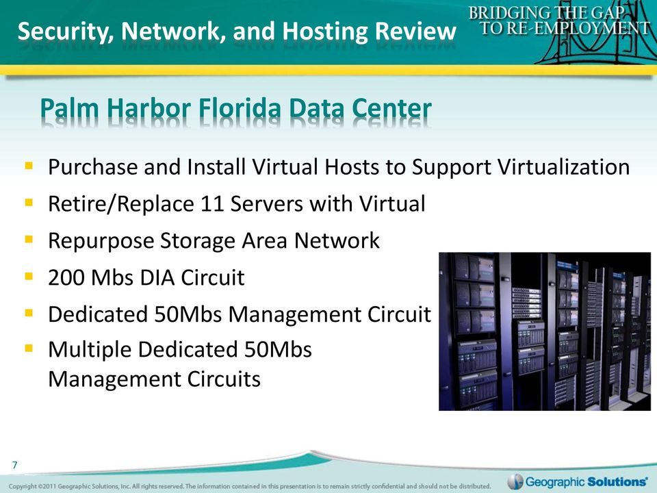 with Virtual Repurpose Storage Area Network 200 Mbs DIA Circuit Dedicated 50Mbs
