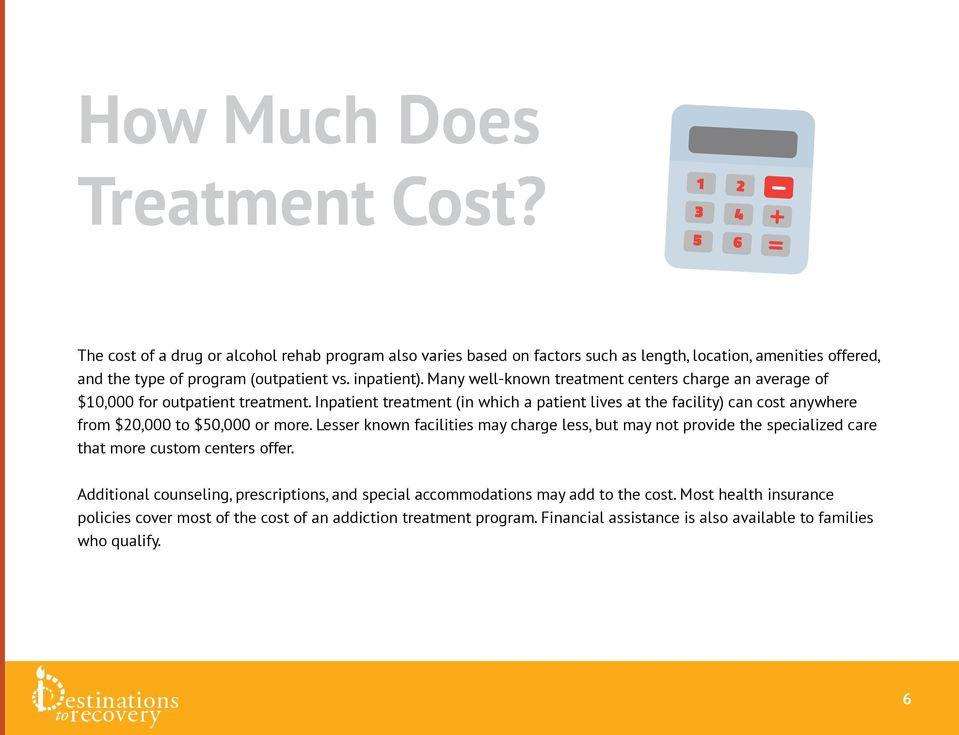 Many well-known treatment centers charge an average of $10,000 for outpatient treatment.