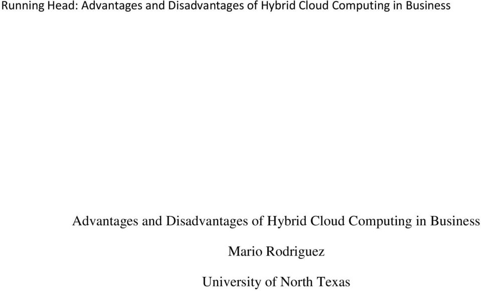 and Disadvantages of Hybrid Cloud Computing in