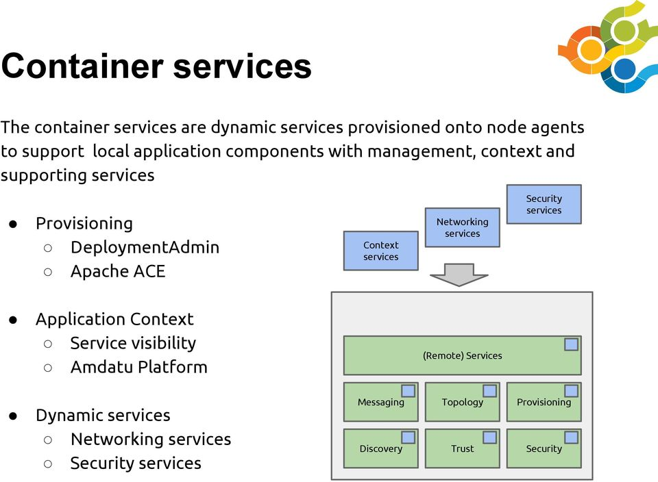 DeploymentAdmin Apache ACE Networking services Context services Application Context Service visibility Amdatu