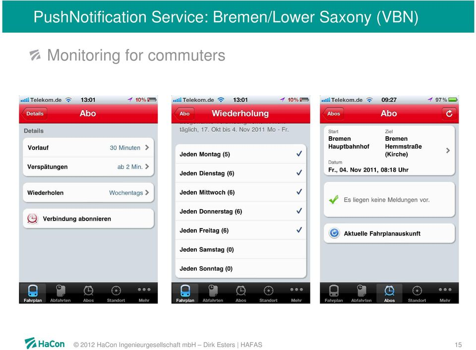 Monitoring for commuters 2012