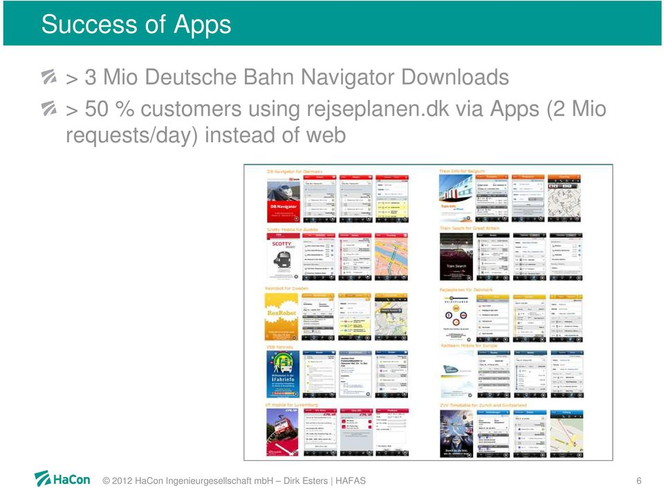 dk via Apps (2 Mio requests/day) instead of web