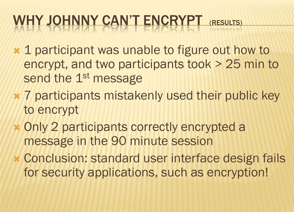 public key to encrypt Only 2 participants correctly encrypted a message in the 90 minute