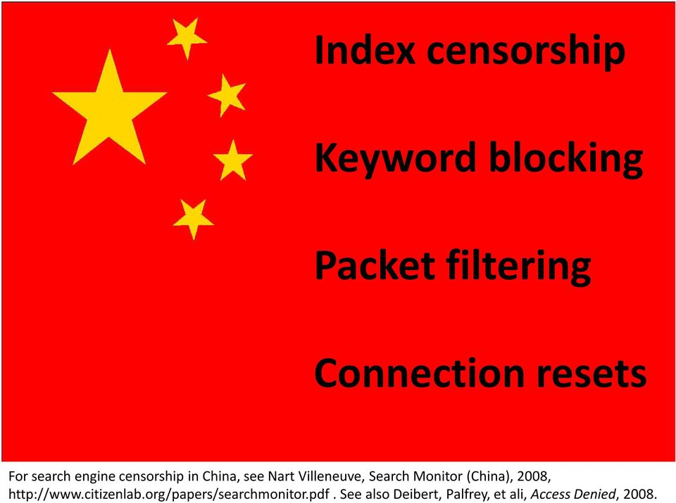 Search Monitor (China), 2008, http://www.citizenlab.