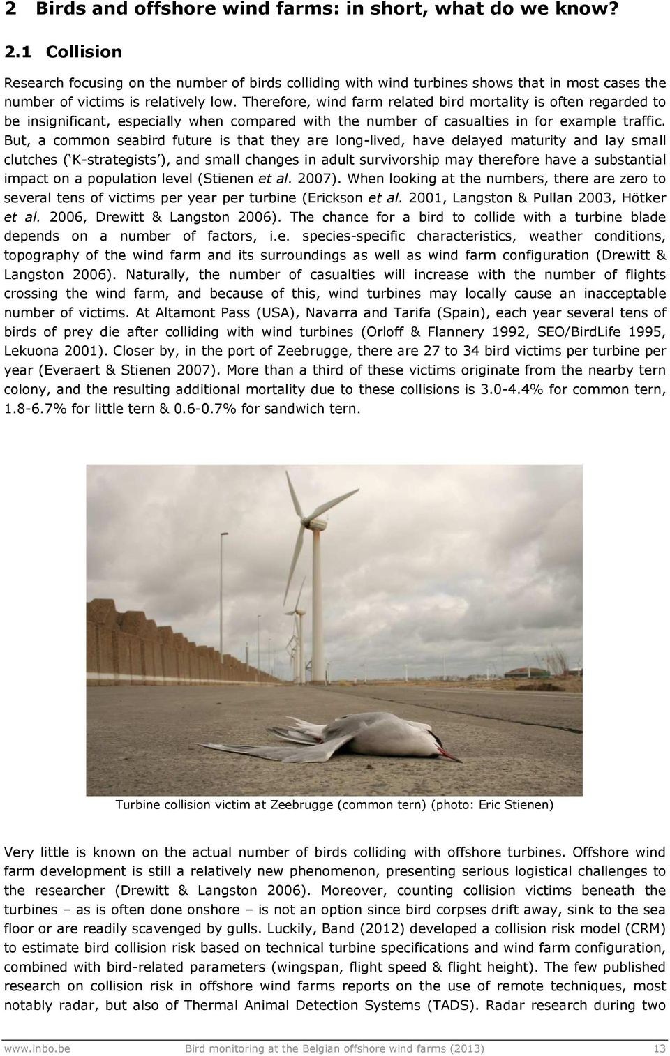 Therefore, wind farm related bird mortality is often regarded to be insignificant, especially when compared with the number of casualties in for example traffic.