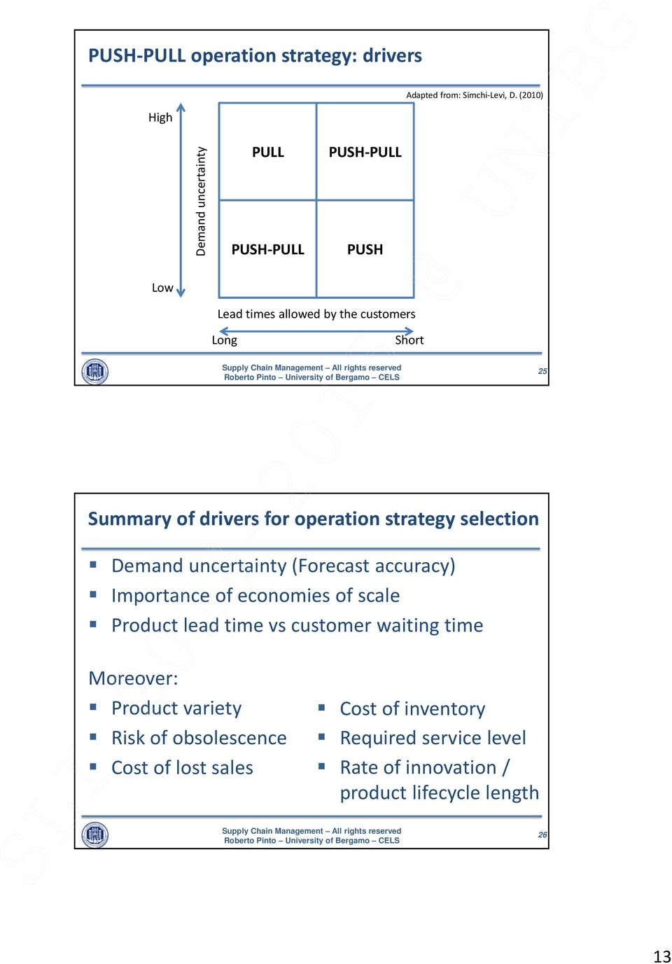 drivers for operation strategy selection Demand uncertainty (Forecast accuracy) Importance of economies of scale lead