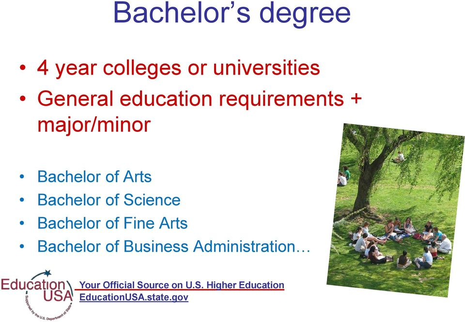 major/minor Bachelor of Arts Bachelor of