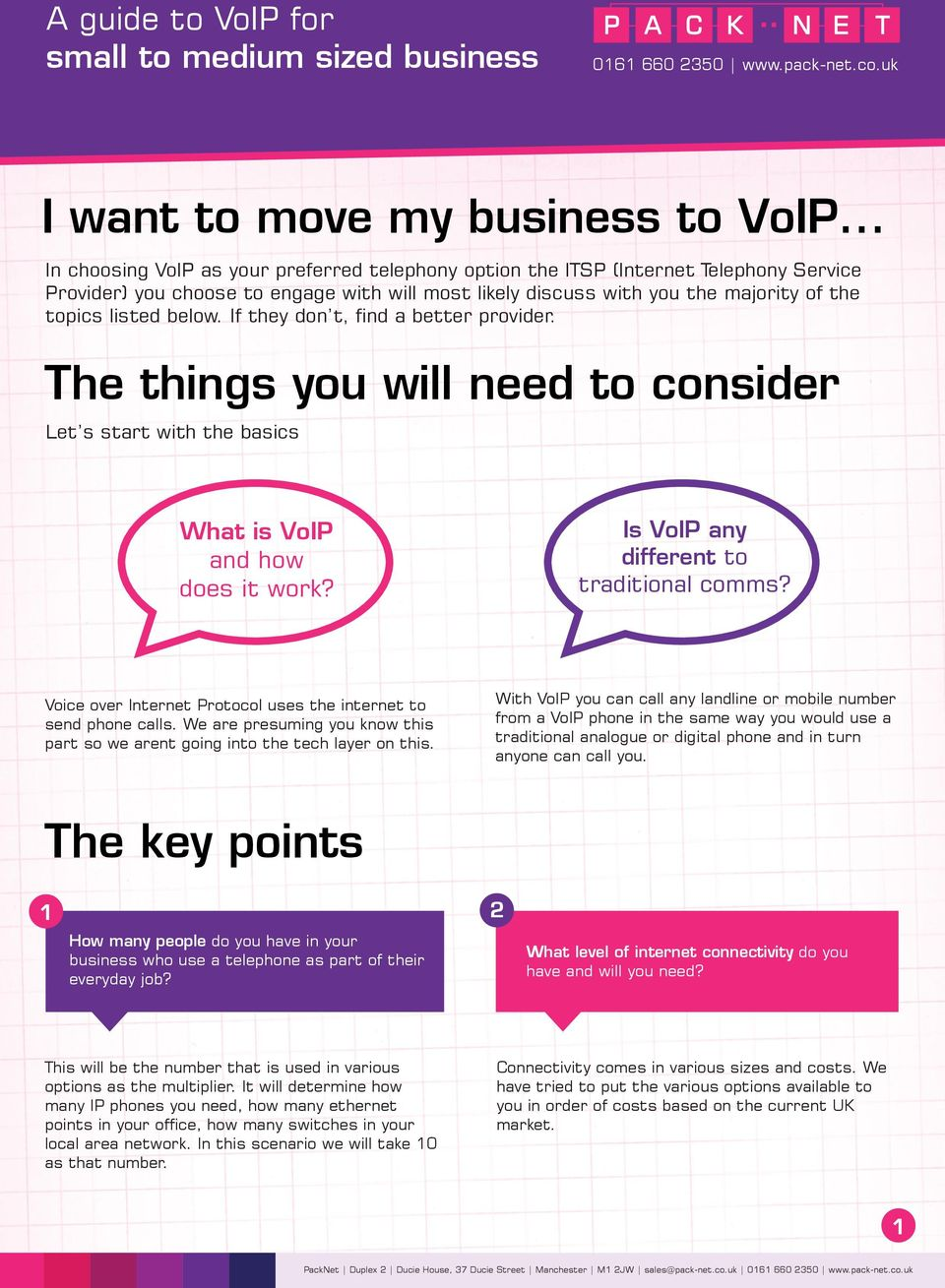 If they don t, find a better provider. The things you will need to consider Let s start with the basics What is VoIP and how does it work? Is VoIP any different to traditional comms?