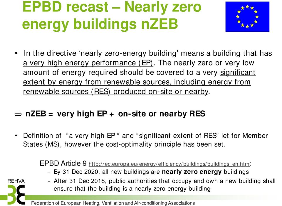 nearby. nzeb = very high EP + onsite or nearby RES Definition of a very high EP and significant extent of RES let for Member States (MS), however the costoptimality principle has been set.