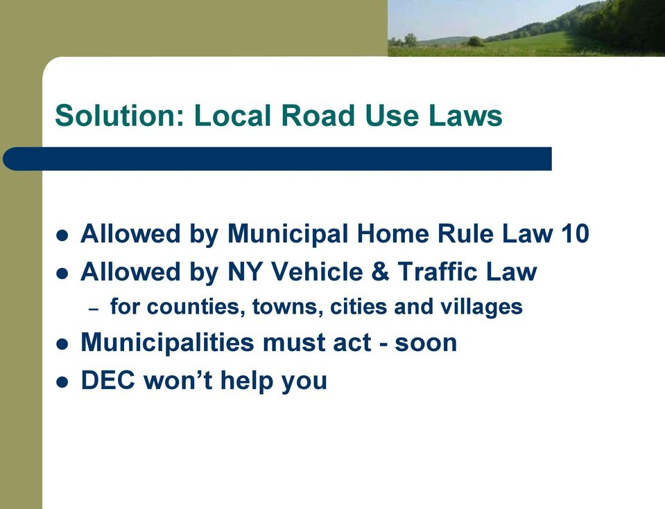 & Traffic Law for counties, towns, cities and