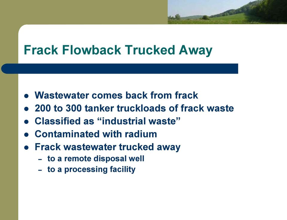 industrial waste Contaminated with radium Frack wastewater