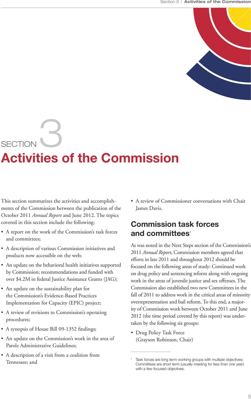 The topics covered in this section include the following: A report on the work of the Commission s task forces and committees; A description of various Commission initiatives and products now