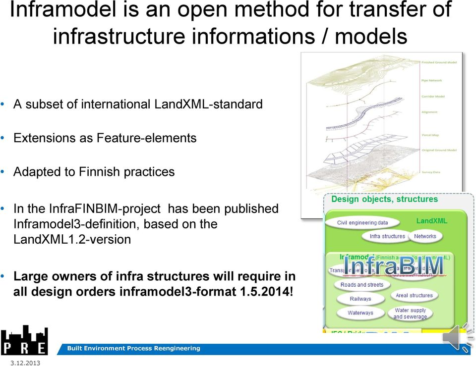 In the InfraFINBIM-project has been published Inframodel3-definition, based on the LandXML1.