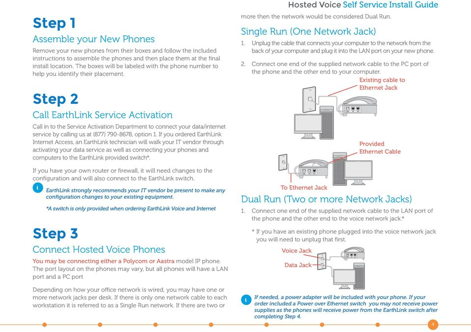 Step 2 Call EarthLnk Servce Actvaton Call n to the Servce Actvaton Department to connect your data/nternet servce by callng us at (877) 790-8678, opton 1.