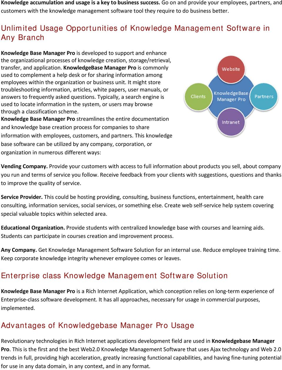 storage/retrieval, transfer, and application. KnowledgeBase Manager Pro is commonly used to complement a help desk or for sharing information among employees within the organization or business unit.
