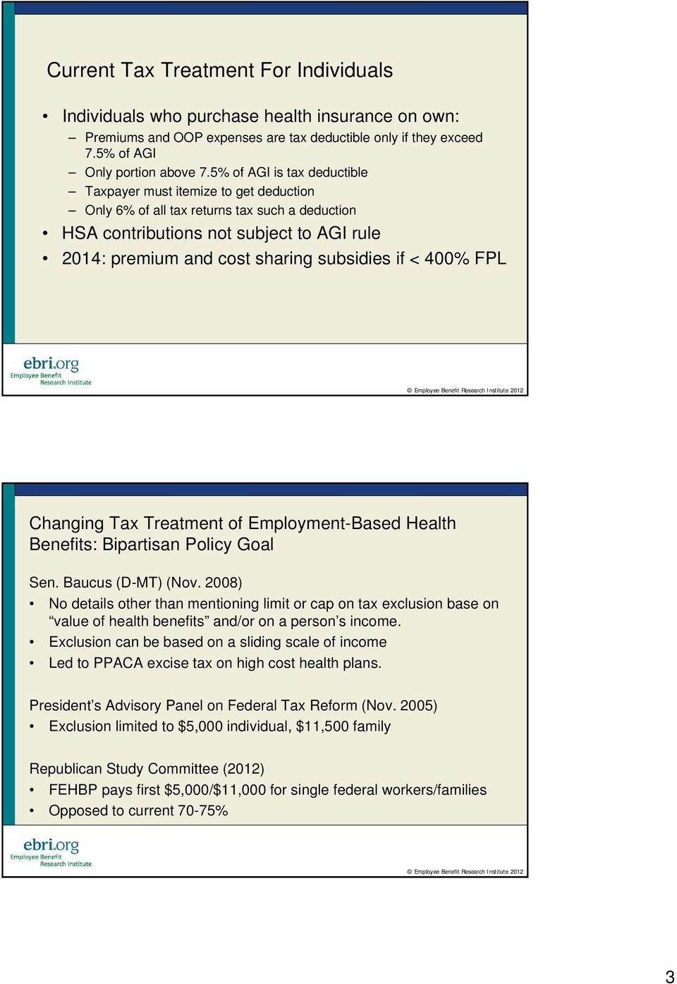 if < 400% FPL Changing Tax Treatment of Employment-Based Health Benefits: Bipartisan Policy Goal Sen. Baucus (D-MT) (Nov.