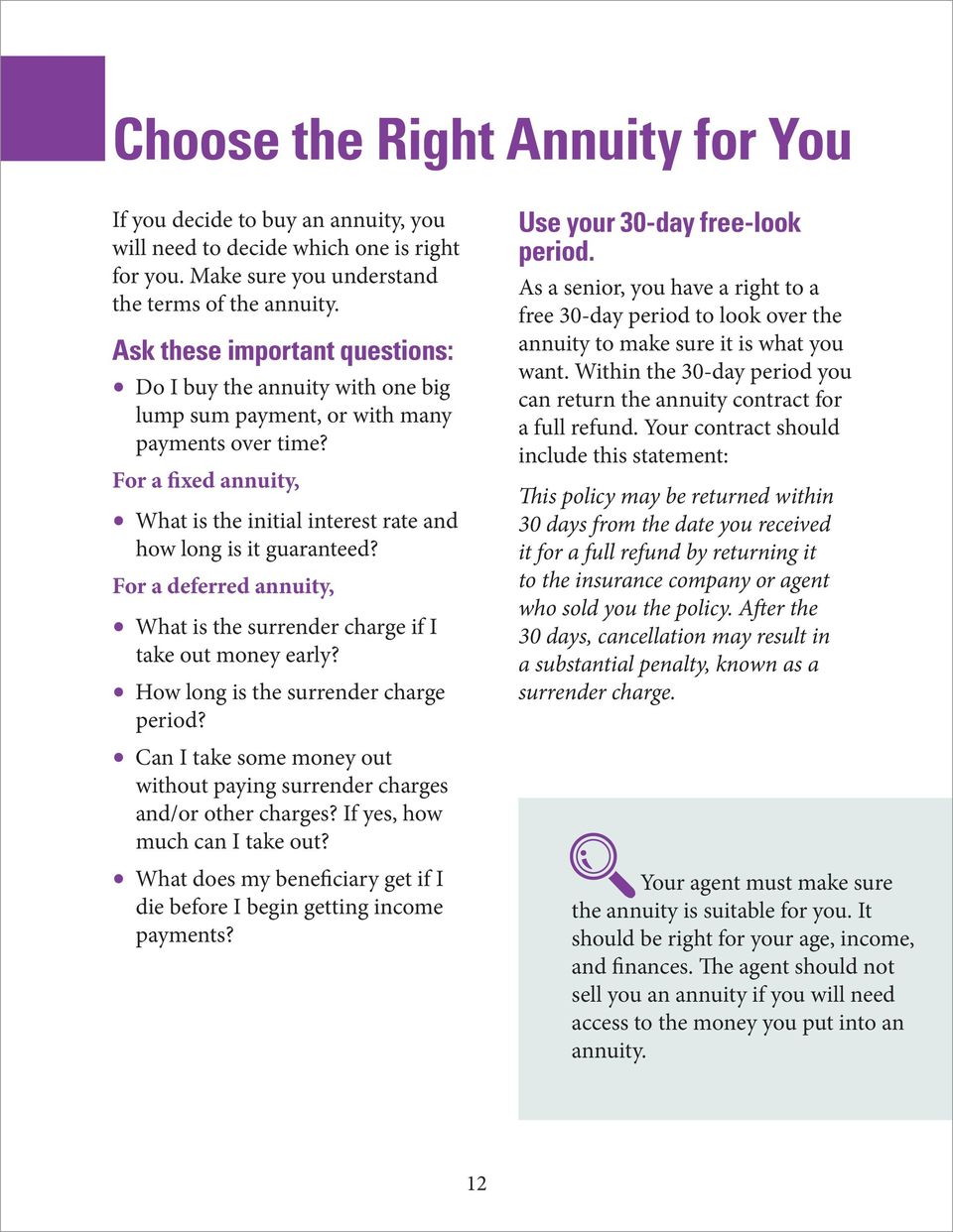 For a fixed annuity, What is the initial interest rate and how long is it guaranteed? For a deferred annuity, What is the surrender charge if I take out money early?