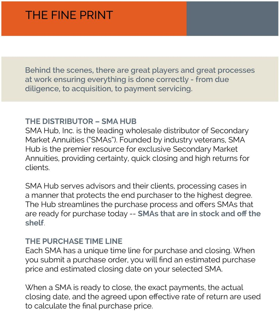 Founded by industry veterans, SMA Hub is the premier resource for exclusive Secondary Market Annuities, providing certainty, quick closing and high returns for clients.