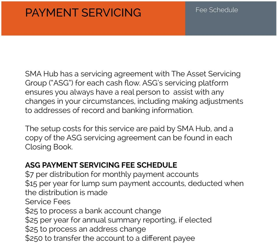 The setup costs for this service are paid by SMA Hub, and a copy of the ASG servicing agreement can be found in each Closing Book.